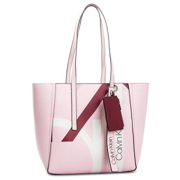 Kabelka Calvin Klein CK Base Medium Shopper Print ružová