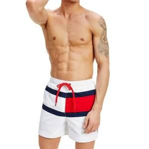 Tommy Hilfiger plavky pánske šortky kúpacie biele Flag Panel Swim Shorts YCD biele
