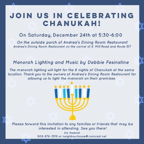 Join us in celebrating Chanukah in Long Valley, NJ