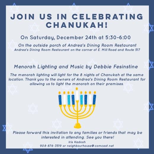 Join us in celebrating Chanukah in Long Valley, NJ