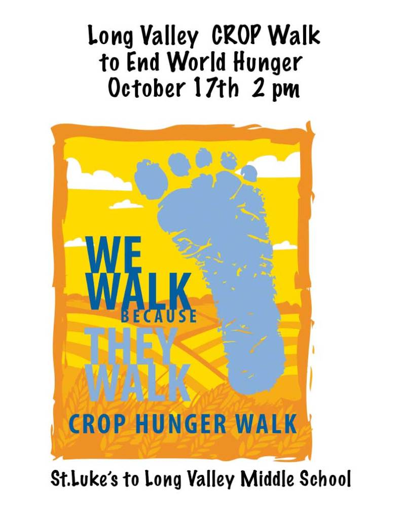 ong Valley interfaith community walk to end world hunger, Sunday, October 17.
