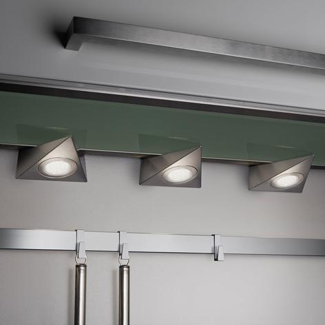 lampe sous meuble led ecco lot de 3 nickel mat