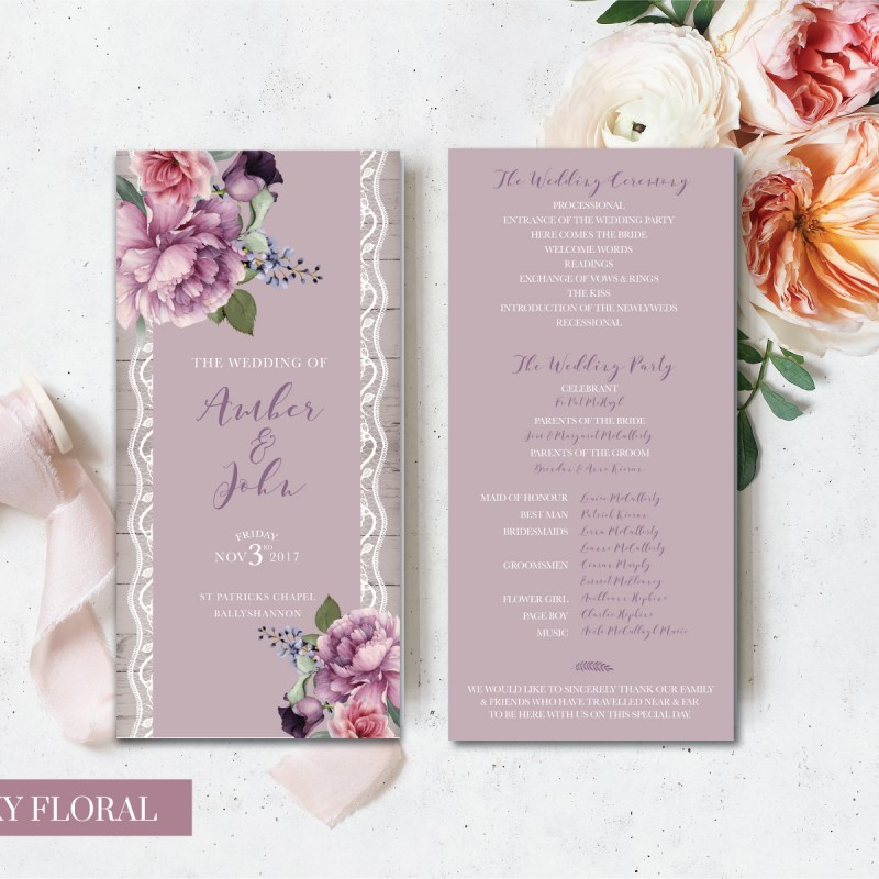 Dusky floral Bridal cards