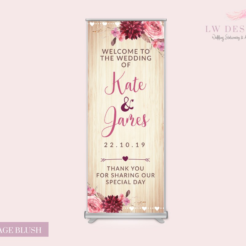 Vintage Blush Roll up Banner