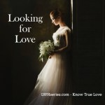 Looking for Love - Woman in wedding dress thinking.