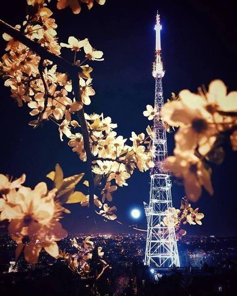 Wieża telewizyjna we Lwowie nocą