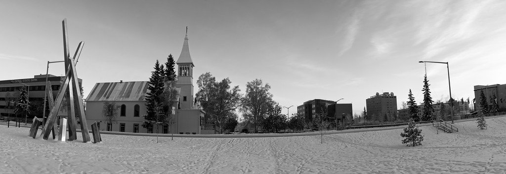 "Panorama of the new Polaris sculpture and Immaculate Conception Church and the downtown Fairbanks ""skyline"". Nice warm light in the early afternoon."