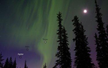 Alignment of Jupiter, Mars, Venus, and Moon with Aurora Borealis