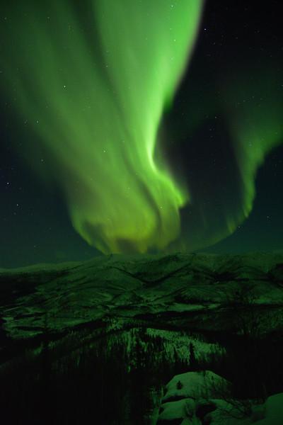 Aurora borealis over the Chena River Valley