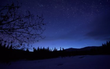 Night Sky over the Chena River along the Angel Rocks Trail.