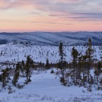 Winter landscape over the Chatanika Valley from Murphy Dome. Fairbanks, Alaska
