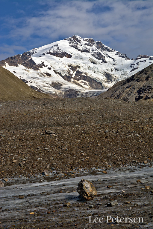 Looking up Mt. Silvertip from the Castner Glacier