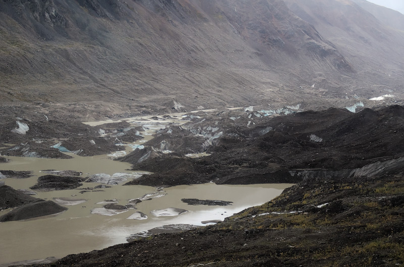 Lots of snow and rain made the terminus of the glacier quite wet.