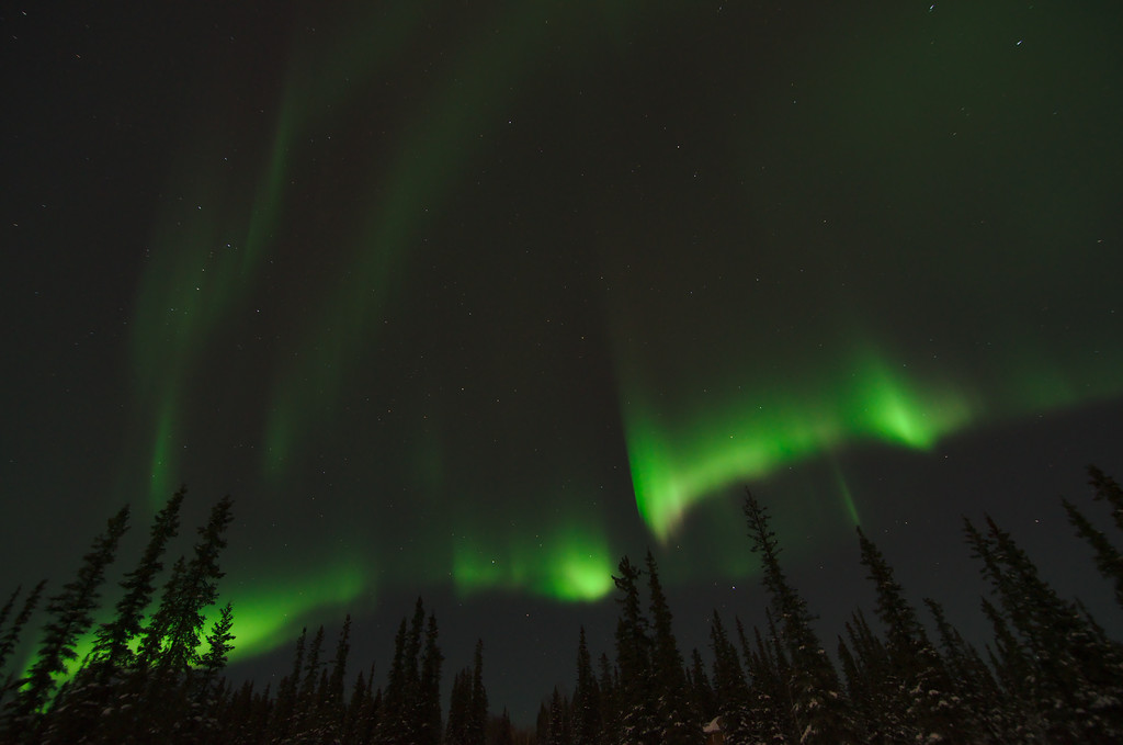Great aurora borealis display over Fairbanks Alaska from February 2014.