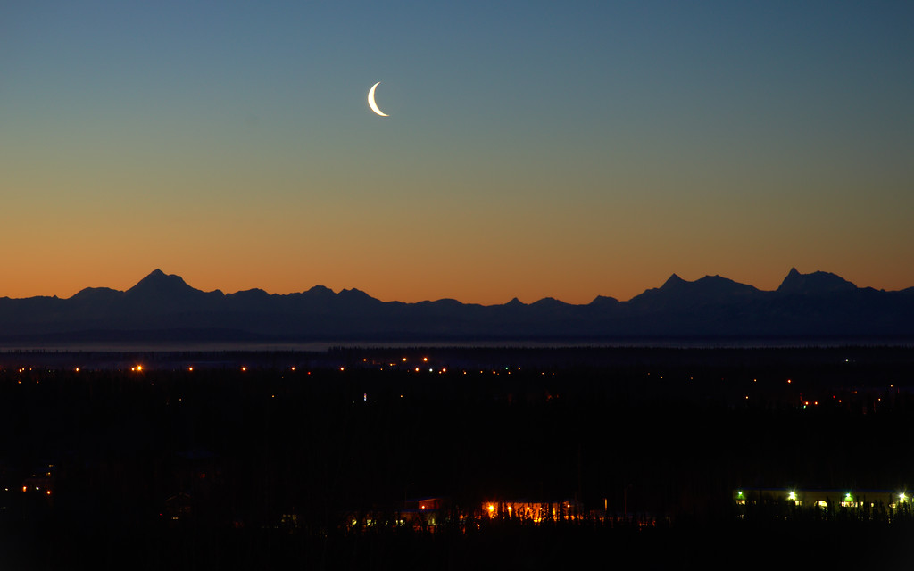 Still twilight - looking at the Alaska Range from UAF in front of the museum of the north.