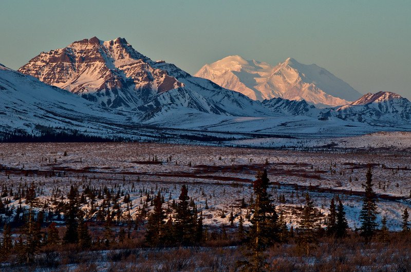 Double Mountain in front, Denali in the back. To give a sense of scale, Double Mountain is about 10 miles away and Denali is close to 70 miles.
