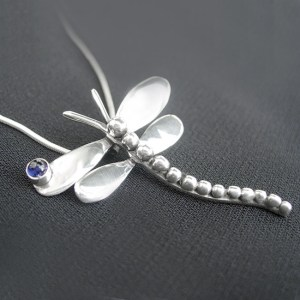 Dragonfly Necklace with Gemstone