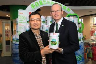 Minister Simon Coveney with the founder of Beingmate, Mr Sam Xie at the opening of Kerry's Greenlove infant formula product.