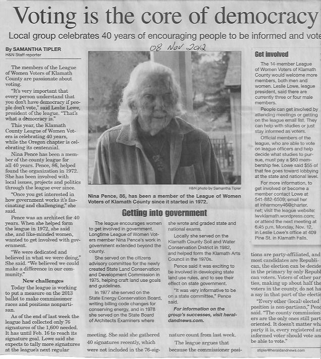 Herald & News Nina Pence Klamath County LWV