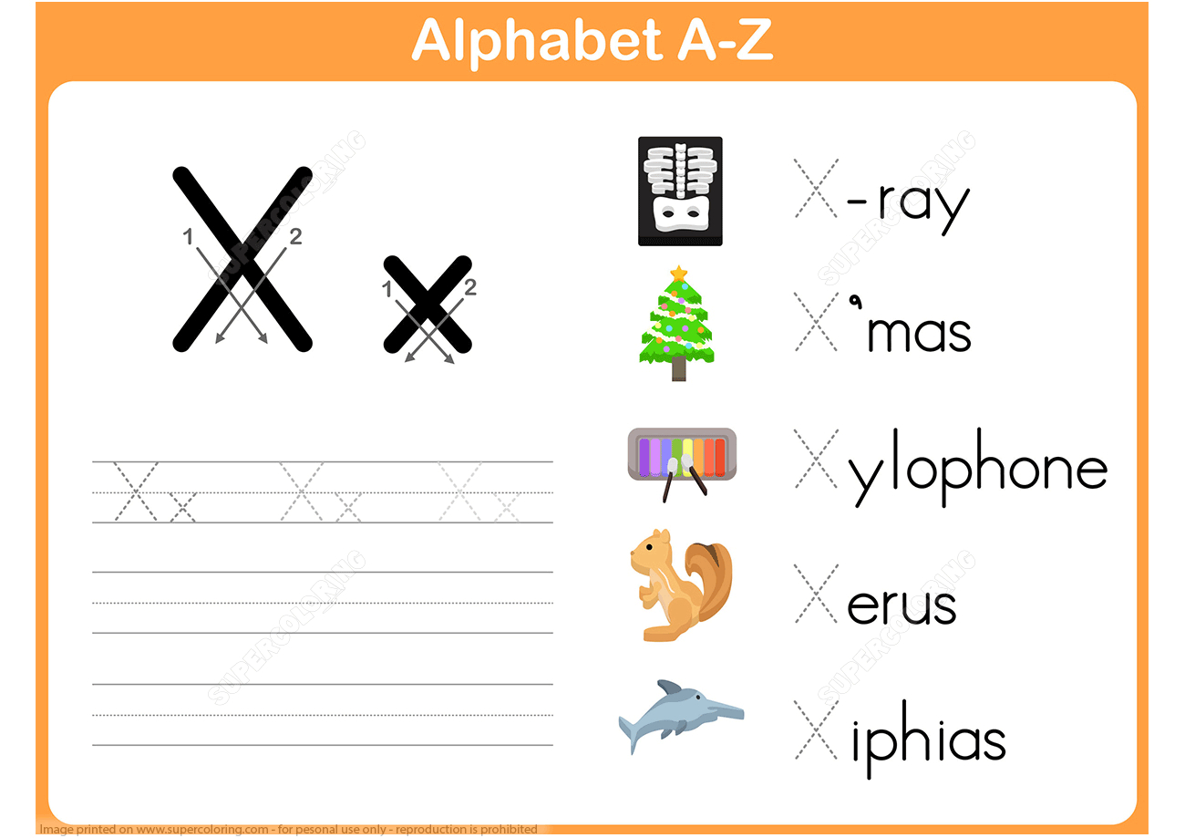 Letter X Is For Xylophone Handwriting Practice Worksheet