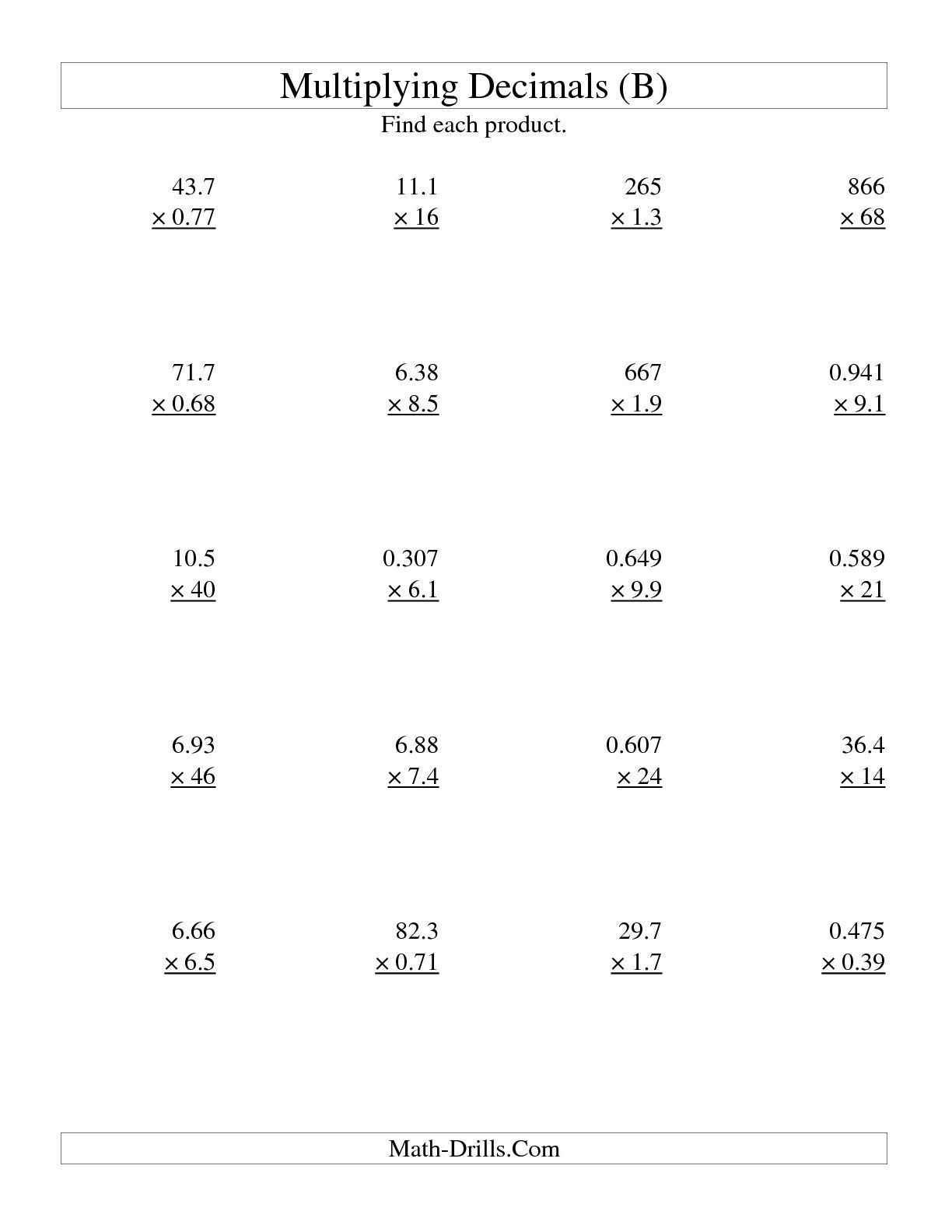 Free Printable Multiplying Decimals Worksheets