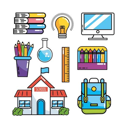 set-school-education-supplies-to-study-vector