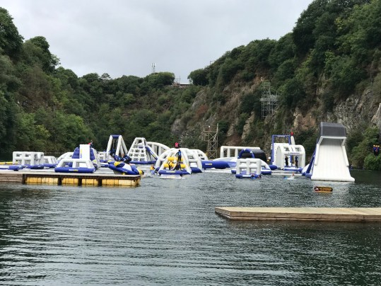 Inflatable assault course at Adrenalin Quarry
