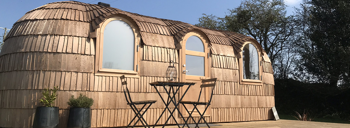 Lydcott Glamping Iglucraft cabins in Cornwall