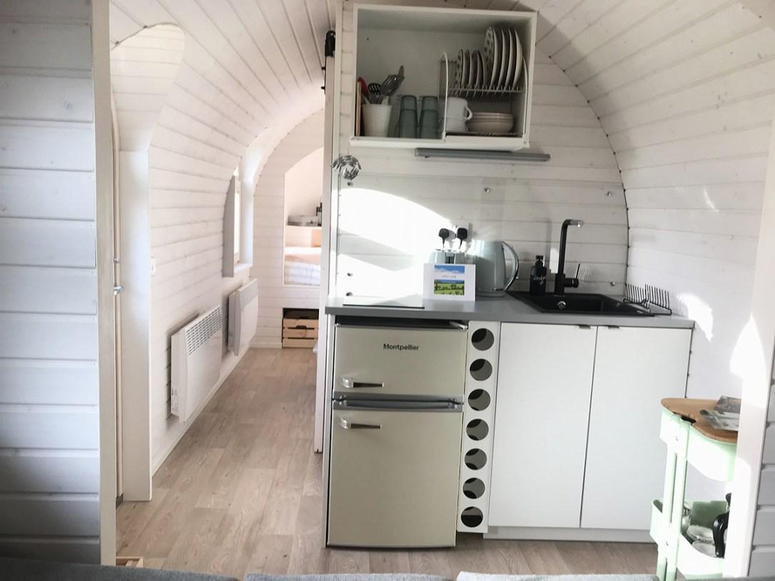 The Pilchard Lydcott Glamping Cornwall kitchen