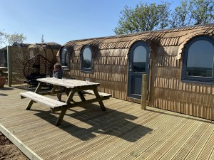 exterior Clotted Cream Iglucraft cabin at Lydcott Glamping Cornwall