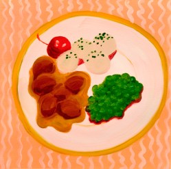 """""""Veal Medallions,"""" oil on paper, 2013"""