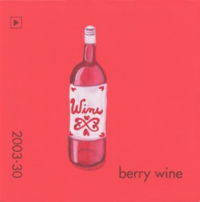 """""""Berry Wine,"""" acrylic on commercial paint chip, 2.5 x 2.5in, 2017"""