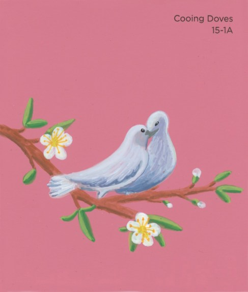 """""""Cooing Doves,"""" acrylic on commercial paint chip, 3.5 x 3in, 2017"""