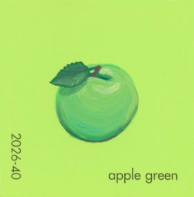 """""""Apple Green,"""" acrylic on commercial paint chip, 2.5 x 2.5in, 2017"""