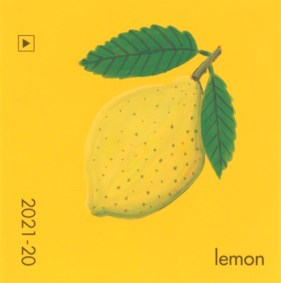 """""""Lemon,"""" acrylic on commercial paint chip, 2.5 x 2.5in, 2017"""