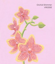"""""""Orchid Shimmer,"""" acrylic on commercial paint chip, 3.5 x 3in, 2017"""