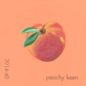 """""""Peachy Keen,"""" acrylic on commercial paint chip, 2.5 x 2.5in, 2017"""