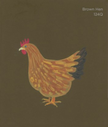 """""""Brown Hen,"""" acrylic on commercial paint chip, 3.5 x 3in, 2016"""