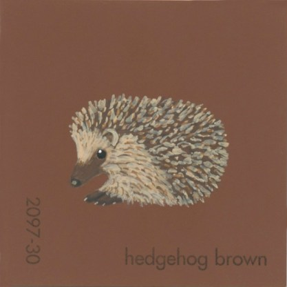 """""""Hedgehog Brown,"""" acrylic on commercial paint chip, 2.5 x 2.5in, 2016"""