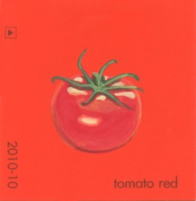 """""""Tomato Red,"""" acrylic on commercial paint chip, 2.5 x 2.5in, 2016"""