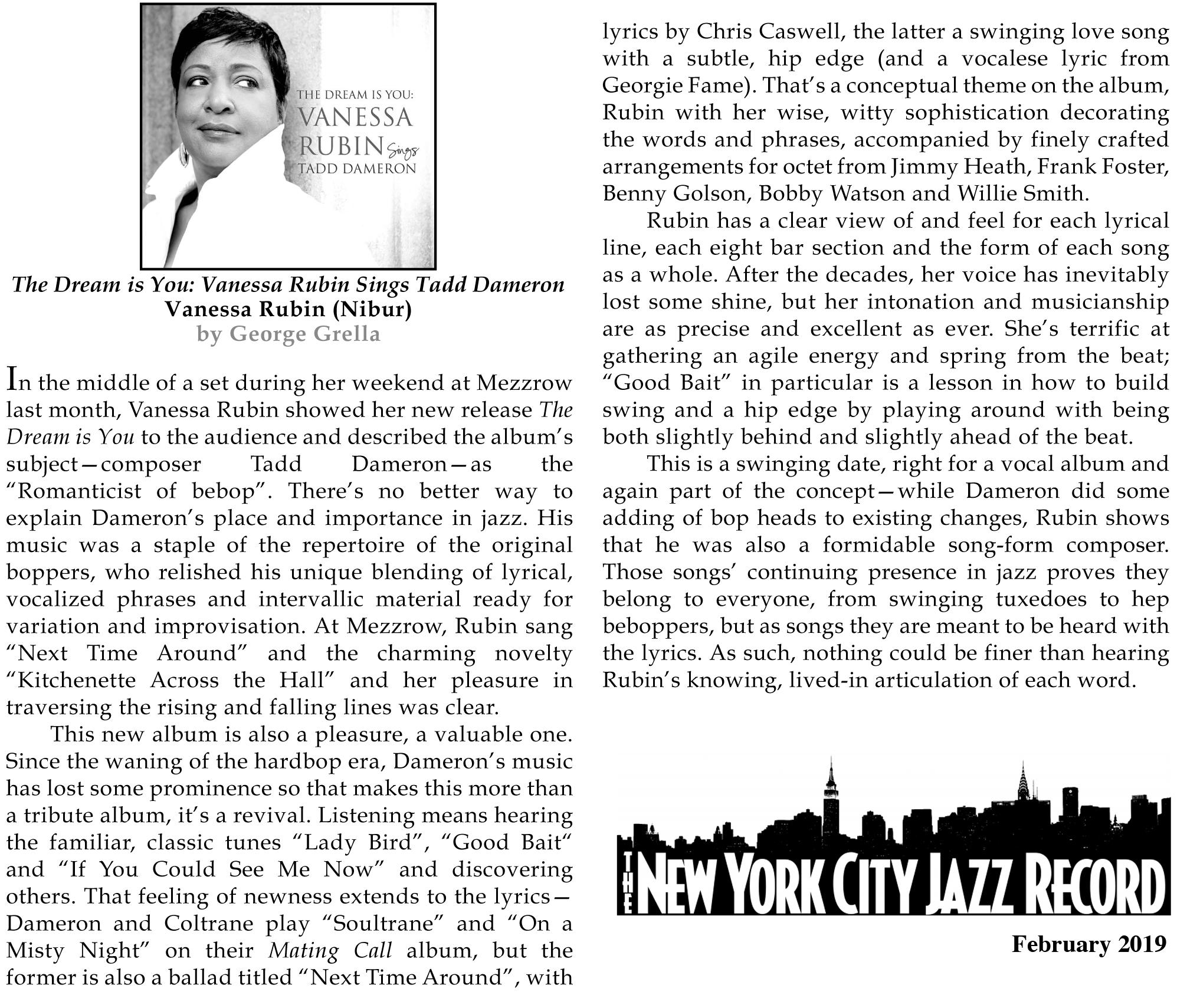 REVIEW: New York City Jazz Record Reviews Vanessa Rubin's