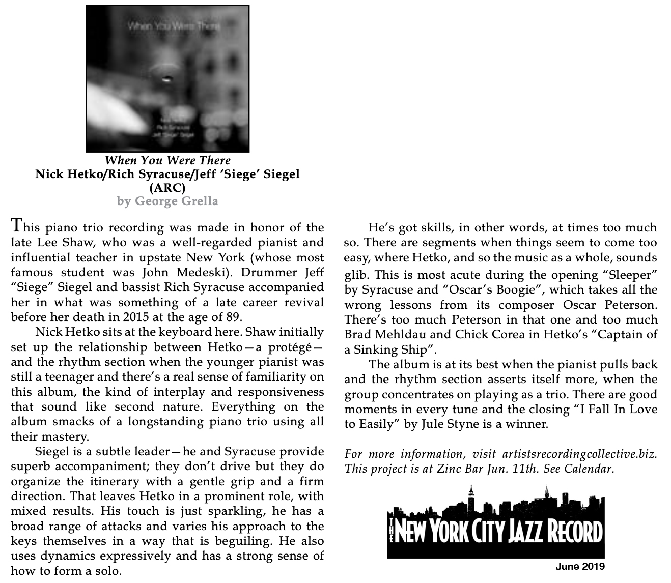 REVIEW: New York City Jazz Record Reviews Jeff Siegel's