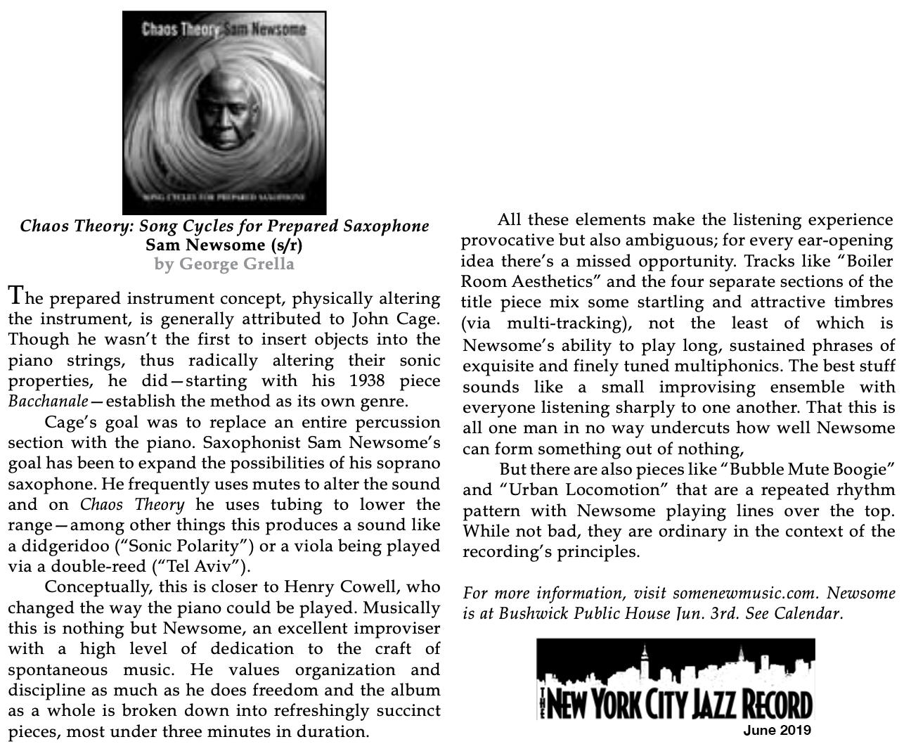 REVIEW: New York City Jazz Record Reviews Sam Newsome's