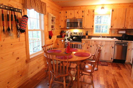 hideaway kitchen table displays lydia mountain lodge & log cabins - my lakeview