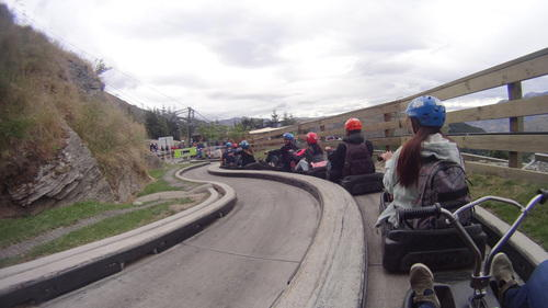 End of the luge ride and queuing up to disembark.