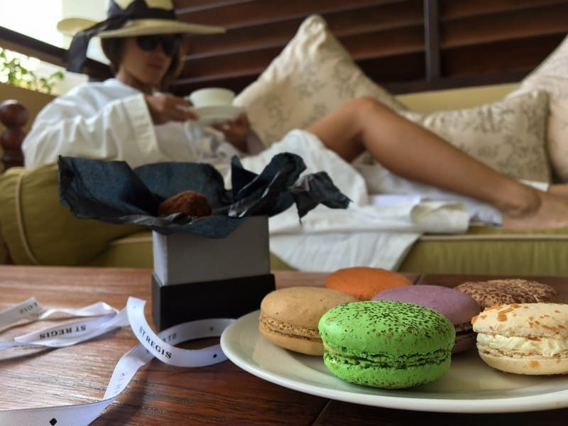 Chilling out on the veranda in the morning, with macaroons, chamomile tea and truffles