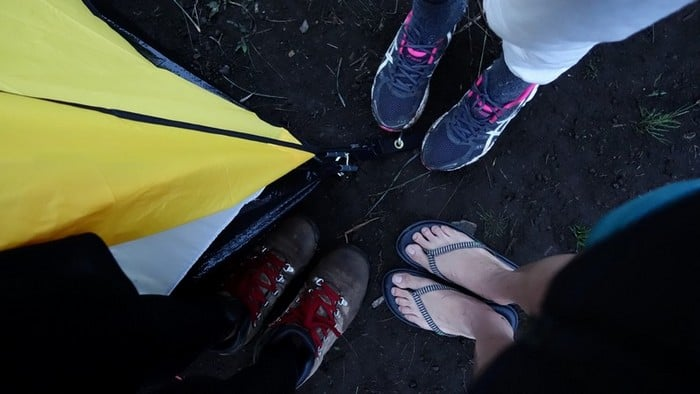 shoes and slipper for the overnight rest at mount rinjani
