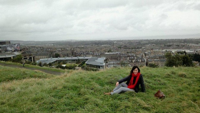 Fresh air at the highest point in Edinburgh. Pretty litte town surrounded by mountains