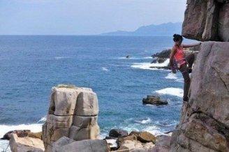 rock climbing in sand stone rock near the cliffs