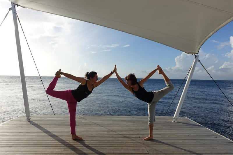 Doing a dancer pose at AWAY SPA Maldives